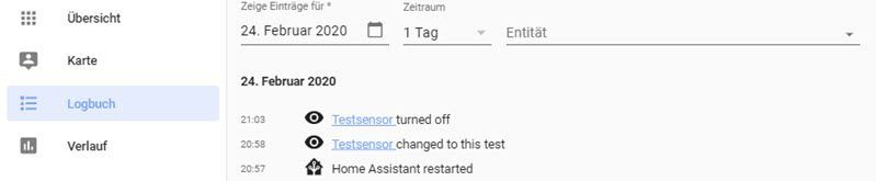 Home Assistant Logbuch